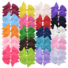 "40 PCS 3"" 7.6cm Grosgrain Ribbon Summer Bows Hair Clip Small Hairpin Fashion Hair Barrette Kids Hair Accessories Clip(China)"