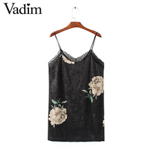 Women sexy sleeveless backless velvet spaghetti strap dress lace patchwork flower print female fashion dresses vestidos QZ2826