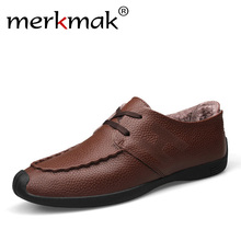Buy Merkmak Mens Summer Genuine Leather Shoes Breathable Comfort New Luxury Brand Shoes Soft Leisure Footwear Men's Flats Autumn for $32.59 in AliExpress store