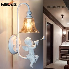 Creative Pastoral angel wall light foyer abajur living room bedside aisle stair cafe lamparas bar hotel corridor wall lamp bra