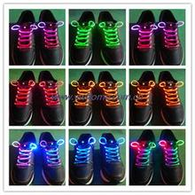 Freeshiping Lighting Flash Light Up Sports Skating LED Shoe Laces Shoelaces Shoestrings Cool 15 colors can be choose(China)