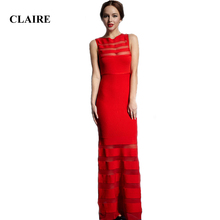 Claire 2016 Autumn Affordable Red Mesh O Neck Floor Length Elegant Rayon Lady HL Bandage Dress CD405(China)