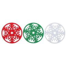 Cute Merry Christmas Snowflakes Cup Mat Christmas Decorations Dinner Party Table Coasters Dish Tray Pad for Home Gift(China)