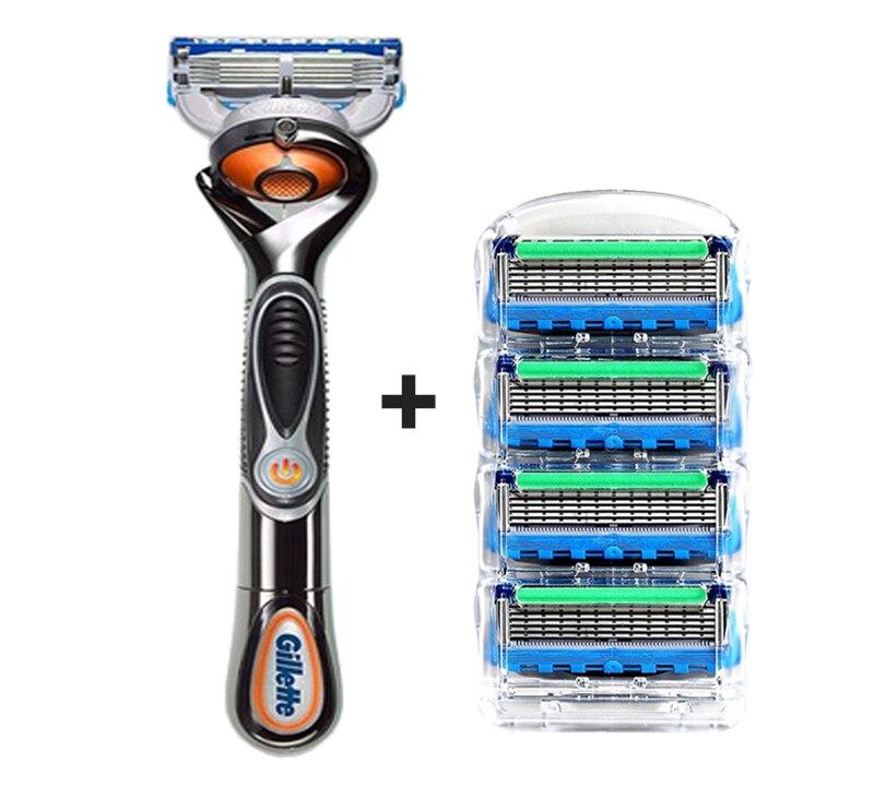 2 Gillette Fusion Proglide Flexball Power Razor Electric Shaving Razors Blades for men Safety Shave Men\'S Beard Shaver 1 Holder 5 Blade