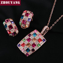 ZHOUYANG Top Quality ZYS035 Rose Gold Color Party Queen Jewelry Necklace Earring Set Rhinestone Made with Austrian Crystals