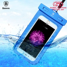 Baseus Universal waterproof phone case bag 5.5 inch transparent touchable pouch diving photographed phone Bag for iphone samsung(China)