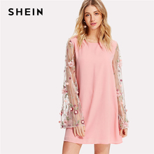 Buy SHEIN Flower Embroidery Pompom Sleeve Mesh Dress Pink Round Neck Long Sleeve Women Sweet Dress Spring Casual Short Dress for $27.00 in AliExpress store