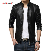 GustOmerD 2016 Autumn Fashion Leather Jacket Men  Mens Leather Jackets And Coats Jaqueta De Couro Masculina Plus Size M-5XL