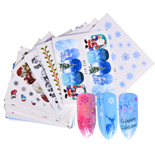 48Sheets Christmas Pattern Water Decals Mixed Nail Art Water Transfer Stickers XMAS Snow Flower Beauty Wraps Decor BESTZ388-436(China)