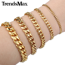 Trendsmax 18cm 20cm Womens Mens Bracelet Stainless Steel Jewelry Gold Color Curb Cuban Link Chain KBM04(Hong Kong)