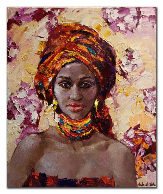 Handmade Modern Abstract African woman portrait knife canvas oil painting wall Decorative hand painting Sexy lady pictures 4343