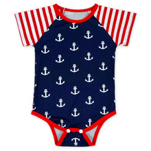 4th of July Baby Girls Bodysuit Striped Short Sleeve Baby Girls Clothes Arrows Printed  Baby  Clothing Patriotic Toddler Outfit