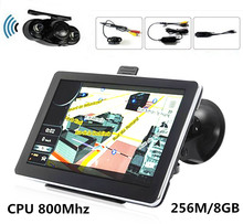GPS Navigation RearView system! 7 inch Car GPS Navigation 256M/8GB CPU800M with BT AV-IN+Wireless rearview camera+Free new Maps