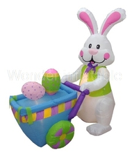 8ft Cute Lighted Inflatable easter Bunny for Festival decoration/Inflatable Bunny Pushing Cart with Eggs for Decoration