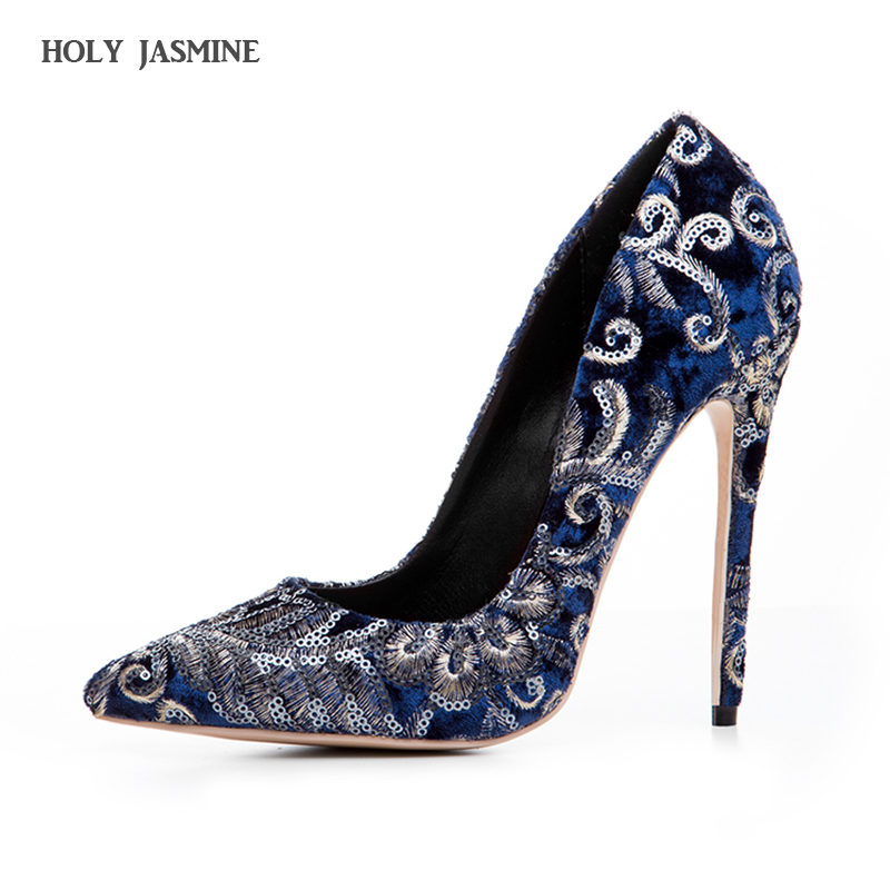 HOLY JASMINE Elegant Women Pumps Fashion Glitter Pointed Toe Thin High Heels Blue Wine Red Party Shoes Woman Plus US Size 34-43<br>