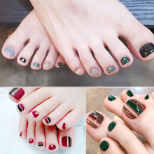 Hot Nail Decoration Manicure Toe False Nails Full Cover Waterproof Women Feet Stickers 2018 New