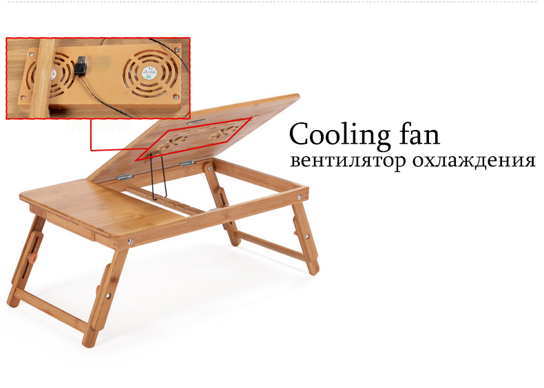 Bamboo Laptop Table Adjustable Computer Desk For Sofa Bed Folding Portable Laptop Table With Cooling Fan Notebook Stand Table 4