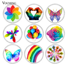 20PCS/Lot 18mm Glass Ginger Snap Button Rainbow Style Design  Vocheng Ginger Snap Jewelry Vn-1822*20