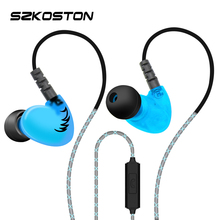 sports High quality stereo earphone Sweatproof Noise Cancelling Earphones music headset with mic ear hook for all Mobile Phone(China)