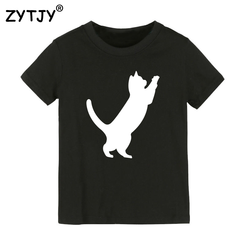 funny cat Print Kids tshirt Boy Girl t shirt For Children Toddler Clothes Funny Top Tees Drop Ship Y-22(China)