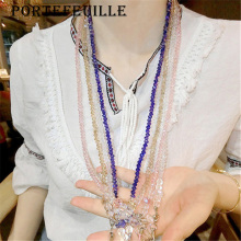 Portefeuille Crystal Beaded Chain Holder Strap Neck Lanyard Necklace For iPhone 7 Plus ID Card Cell Phone Key Mobile Accessories