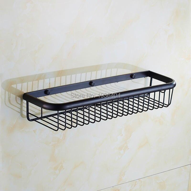 Bath Shower Storage Holder High Weight Capacity Retro Black Bronze Basket Shelf Wall Mounted Kitchen Corner  Basket Rack BS3210<br><br>Aliexpress