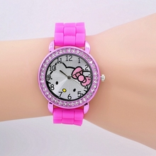Mix Color Leather Hello Kitty quartz Watch For Women Girl Children Kid Gift Wristwatches Watches Lovely Cartoon watch