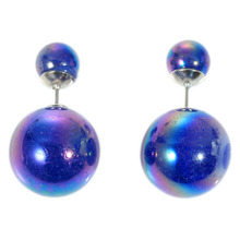 Doreen Box Acrylic Pearl Created Double Sided Ear Post Stud Earrings Ball Blue AB Color 8mm Dia. 16mm Dia.,1 Pair