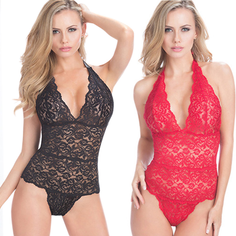 Plus Size L-3XL Woman Sexy Lingerie Hot Lace V-neck Teddy Babydoll Lingerie Sexy Erotic Lingerie Women Sexy Costumes Underwear (China)