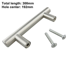 Kitchen Cabinet Door or Drawer Stainless Steel Pull T Bar Handle Knob (Length 300mm, hole center 192mm)