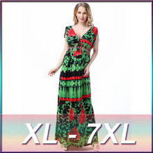 2017 Empire Summer Dress Print Robe Vestidos Large Size New Colors Explosion Models Sexy Deep V Dress Waist Slim Long Holiday