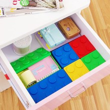Creative Candy Colour Cute Building Blocks Stack Long Square Storage Box Stackable Storage Trumpet Child Toy Storage Organizer(China)