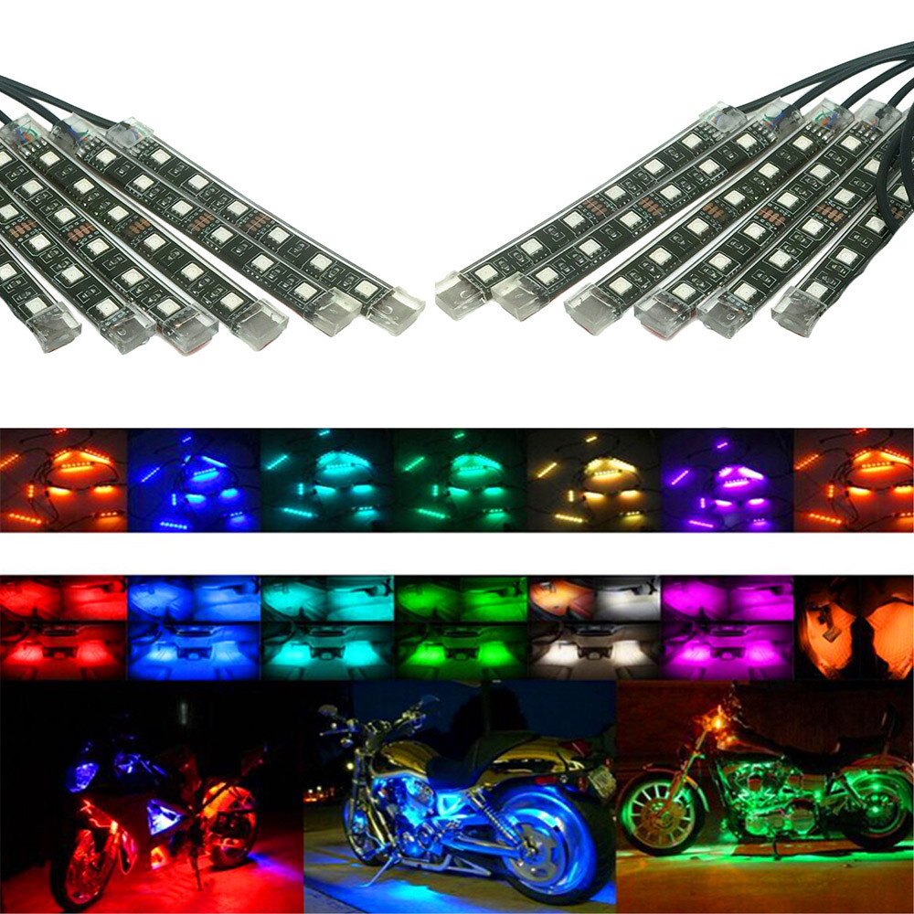 2016 hot sale New 1 Set 12PCS RGB LED Car Motorcycle Chopper Frame Flexible Neon Strips Kit very nice Vicky<br>