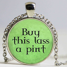 Buy this lass a pint - Beer Lover Gift - Irish Beer Gift - Buy this girl a beer Pendant Statement Choker Necklace Vintage Jewelr(China)