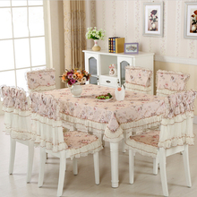 9 Pieces/Set Cheap Fabric Table Cloth for Wedding Decor, New Lace Tablecloth Dining Chair Covers Set Cushion Tablecloth(China)