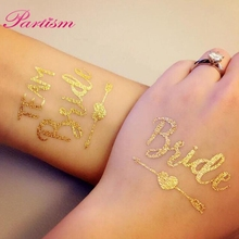 5PCS Gold Bride Temporary Tattoo Favor Bridesmaid Bridal Wedding Party Decoration Bachelorette Party Supplies Photographs