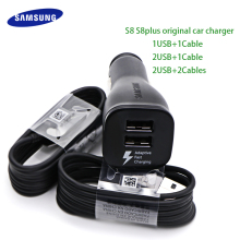 Samsung S8 S8Plus Car Charger Original Adaptive Fast Charger 9V 1.67A & 5V 2A Quick Charge 3.0 Type-C Cable 2 USB Adapter