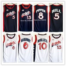 #4 Charles Barkley #5 Grant Hill #6 Penny Hardaway #10 Reggie Miller #13 Shaquille O'Neal Dream Team USA basketball jersey(China)
