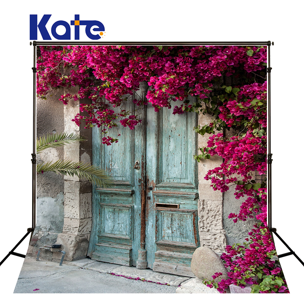 KATE Photography Backdrops 10X10Ft Photo Flowers Background Wedding Backdrops Old Wood Door Backdrops Photocall Wedding<br>