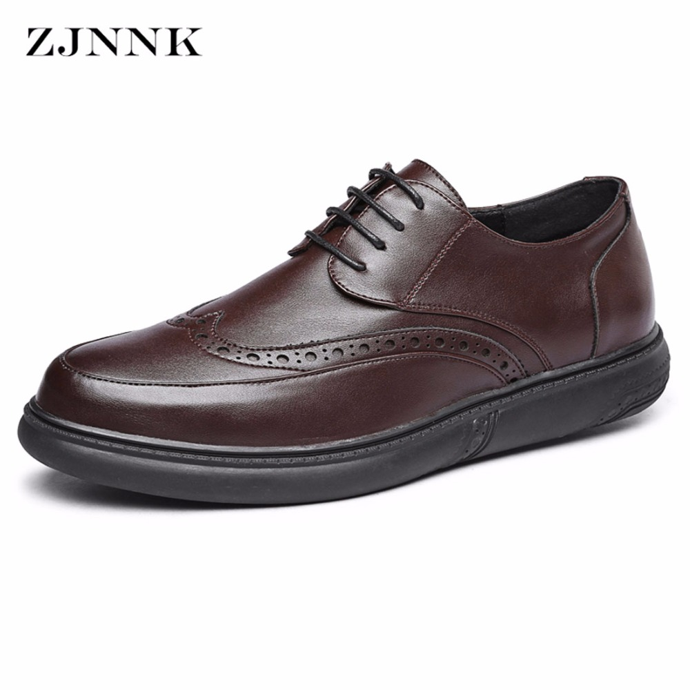 ZJNNK Brand Men Brogue Shoes Fashion Vintage Comfortable Mens Flats Shoes Casual Bullock Zapatos Hombre Trendy Men Leather Shoes<br>