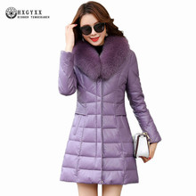 Fox Fur Collar 2017 New Women Winter Genuine Leather Duck Down Long Hooded Sheepskin Coat Solid Color Warm Feather Parka Okb414(China)