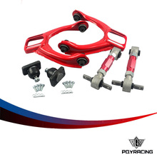 PQY- FOR 96-00 CIVIC LX DX EK EJ TUBULAR FRONT UPPER CONTROL ARM TUBE CAMBER KIT + 92-00 Adjustable Rear Camber Arms RED(China)