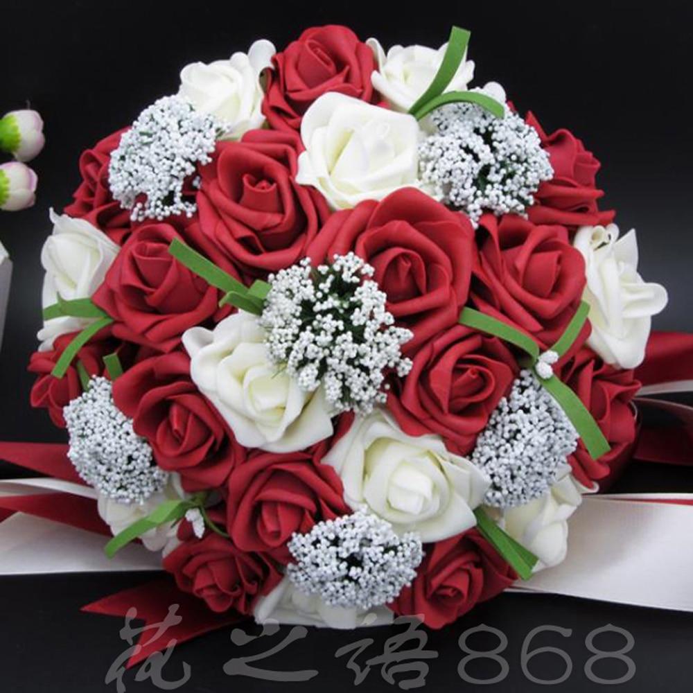 Aliexpress Buy Bouquet Red Rose Bouquet White Wedding Bouquets