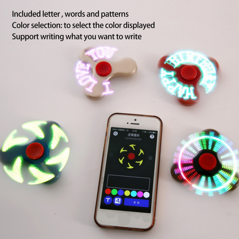 New LED Smart Finger Spinner Flash Words Set by Android APP USB Charge Gift Toys Accessories Hot Selling(China (Mainland))