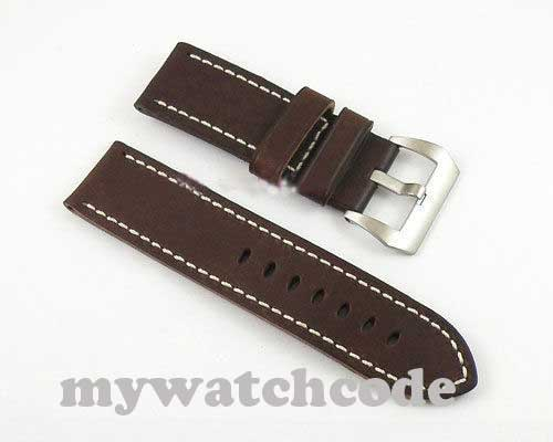 26mm gray cow heavy strap leather Watch white Stitches fit mens military watch15<br>
