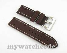 26mm gray cow heavy strap leather Watch white Stitches fit mens military watch15(China)