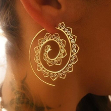 BeautyWay Ethnic Personality Round Spiral Drop Earrings Exaggerated Love Heart Whirlpool Gear Earrings for Women Jewelry 4198