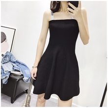 Knitted letter embroidery sexy black strap dress women sleeveless backness female vintage Hepburn style girls summer lin logo