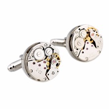 1Pair New High Quality Jewelry Classic Shirt Cufflinks For Men Silver Mechanical Watch Movement Cuff Buttons Business Cufflinks(China)