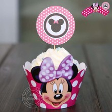 Free Shipping Minnie mouse Cupcake Wrappers Decoration Dirthday Party Supplies for kids, Micky Cup Cake Toppers Picks